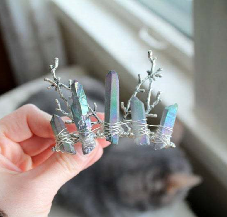 Wholesale High Quality Crystal Quartz Tiara Crystal Multi-Color Branches DIY Hair Comb Crown Christmas Headdress