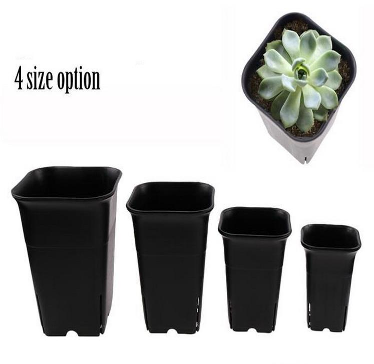 Indoor Home 4 Size Option Square Flower Plants Nursery Plastic Pots