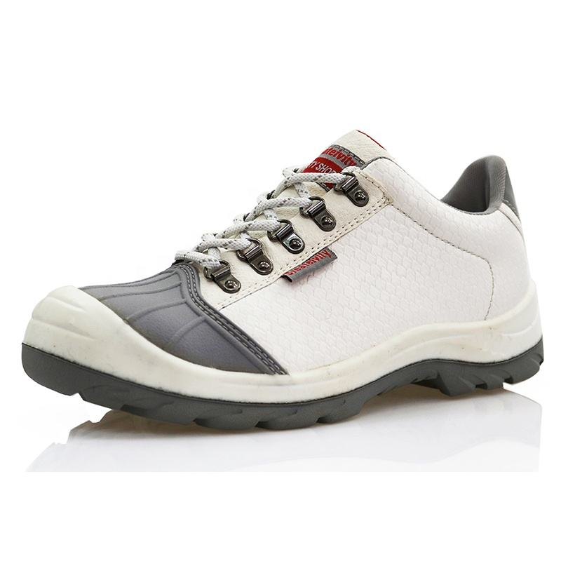 Oil resistant non slip food industry microfiber leather steel toe white safety shoes