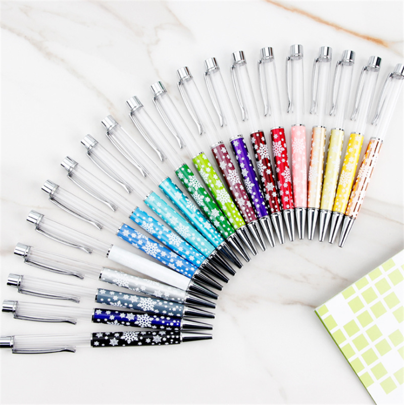 Korea Style Snowflake DIY Custom Empty Pens Fashion Handmade Crystal Ballpoint Pen