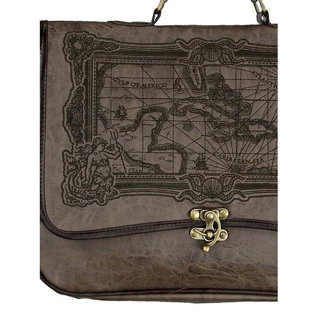 Tiberio Dark Side Pirate Map Brown Vegan Leather Steampunk Messenger Bag IN WHOLESALE RATES