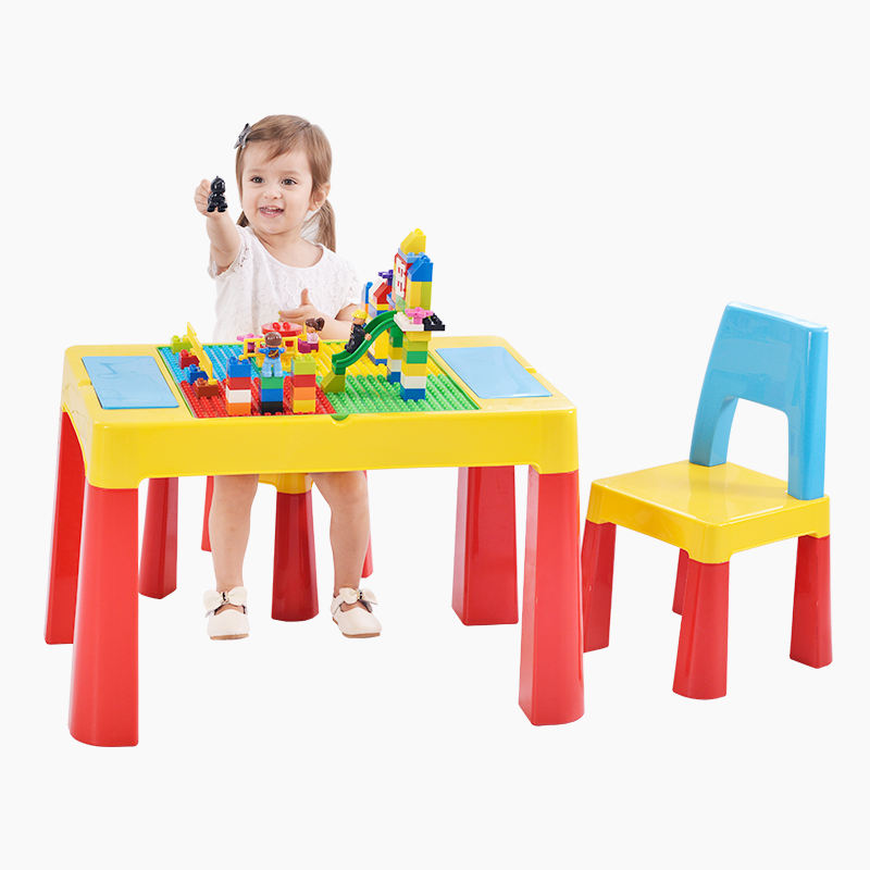 Plastic baby activity table,Kids building block table chairs play set