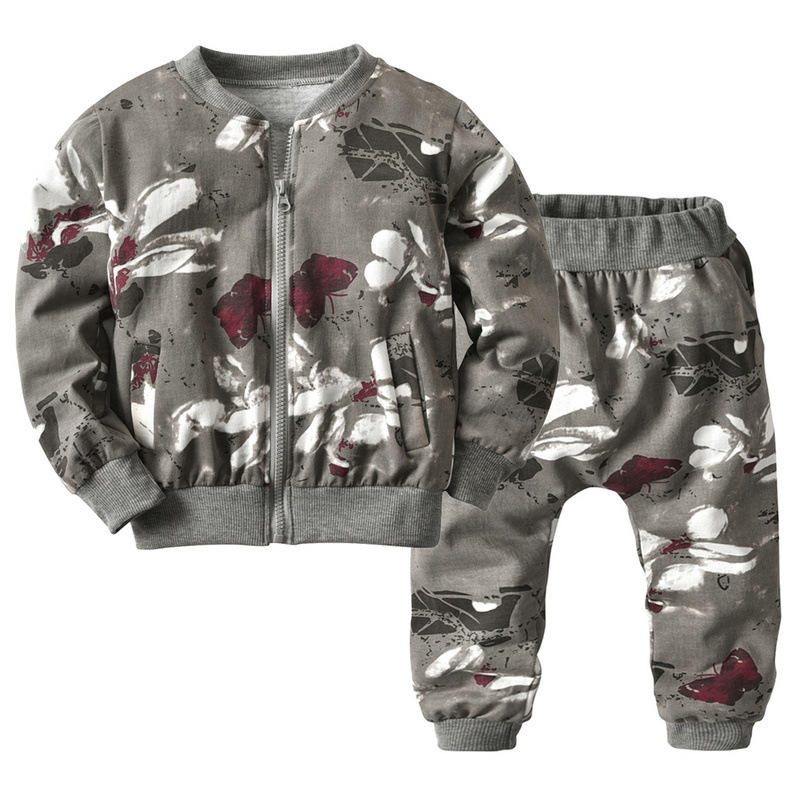 Boutique clothing set sport casual camouflage zip children clothes kid track suits for boys