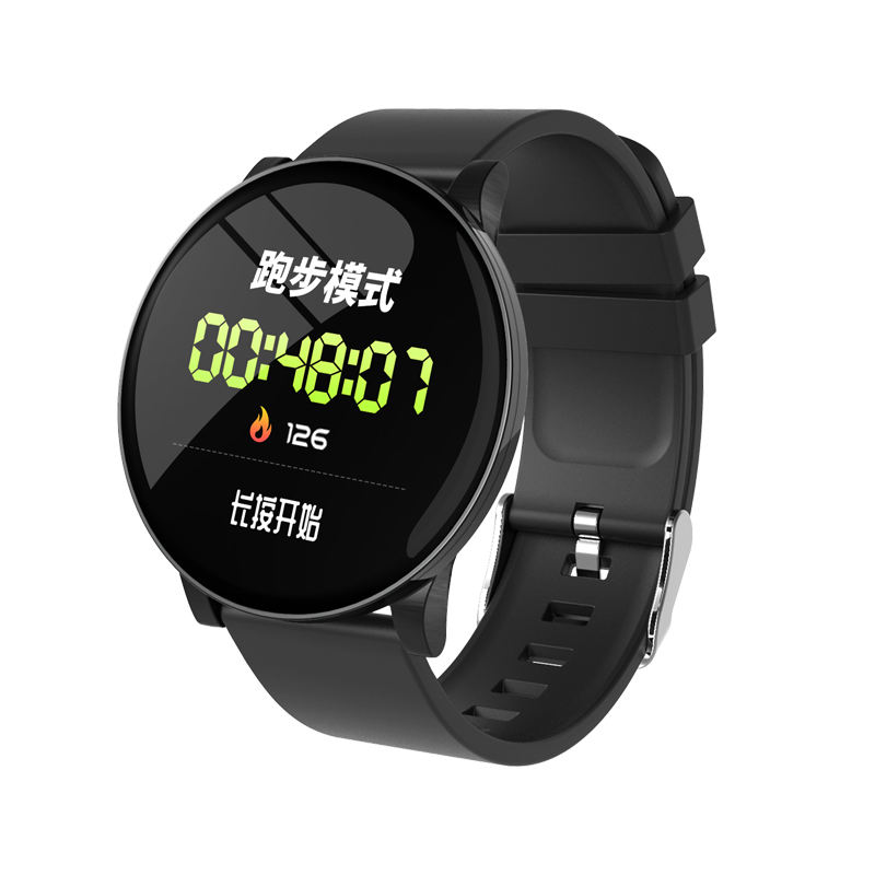 w8 water resistant circle ring smart watch for tempered glass full touch screen