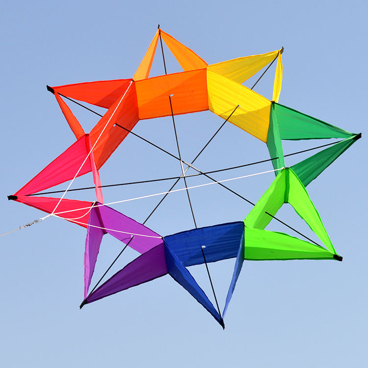 High quality rainbow color 3D lantern shape kite for sale easy flying