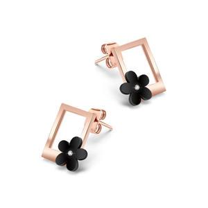 Amazon Hot Sale Stainless Steel Lucky Clover Women Jewelry 18k Rose Gold Flower Earrings