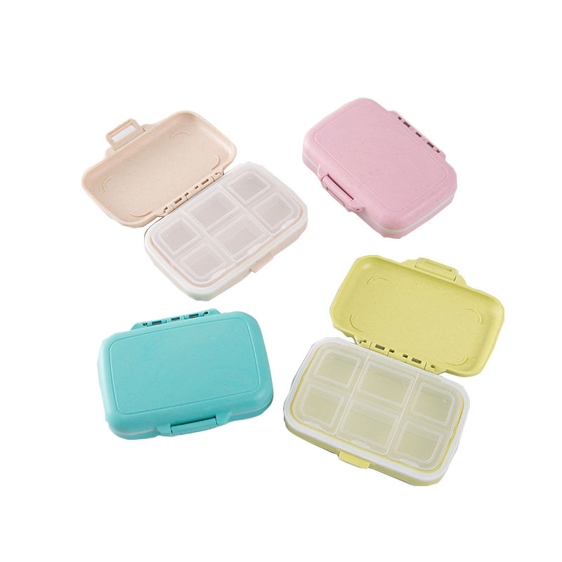 Portable Travel Wheat Straw 6 Grid Small Pill Box One Week Medicine Storage Box