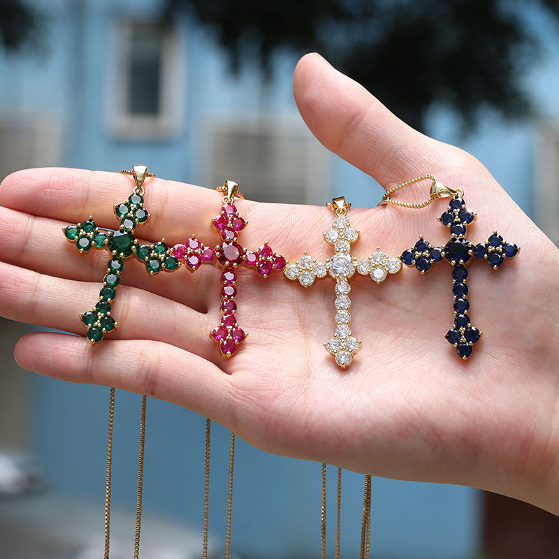Wholesale brass gold plated pendants charms cz cross necklace pendants