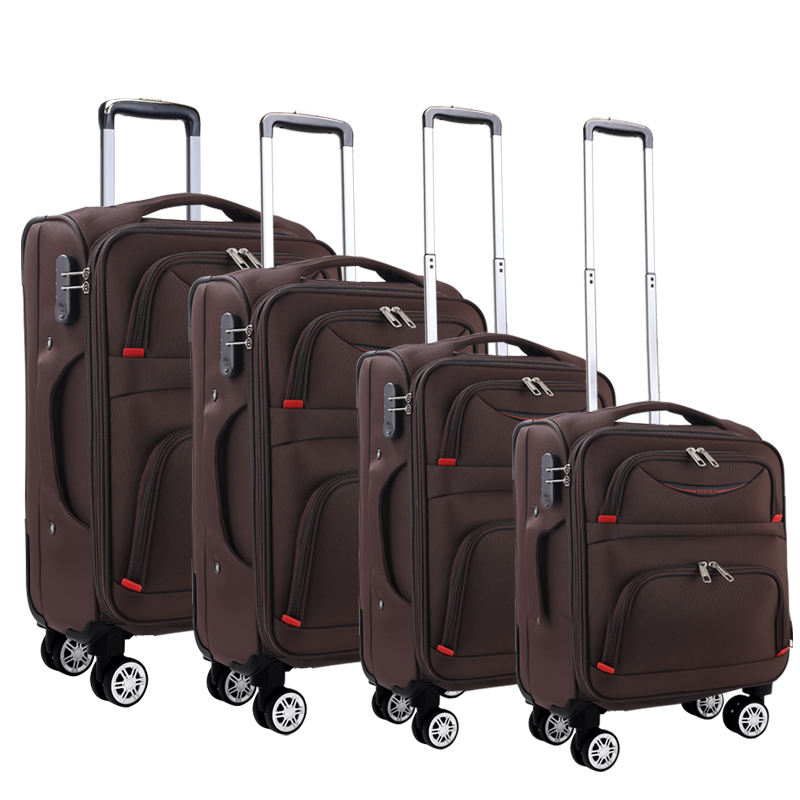 "4pcs 16""/20""/24""/28"" China Supplier High Quality Nylon Soft Side Trolley Luggage set oxford suitcase sets"