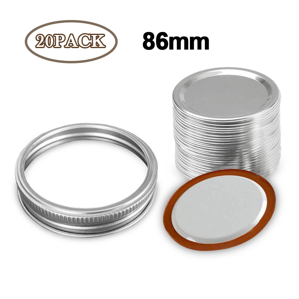 20/24Pcs Mason Jar Lids for Regular Mouth Mason Cannings Leakproof Storage Kitchen Anti Rust Cover Split-Type Bottle 70/86Mm