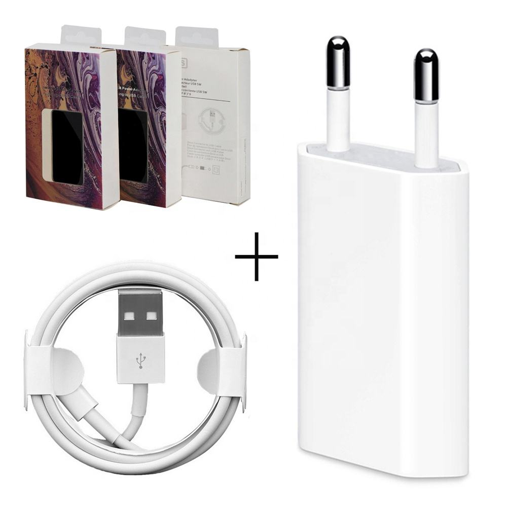 2in1 terno 5W UE/EUA/REINO UNIDO Carregador + Cabo 8pin 1M de Carregamento do telefone móvel carregador de Parede para o iphone USB Power Adapter para o iphone 5678XR11