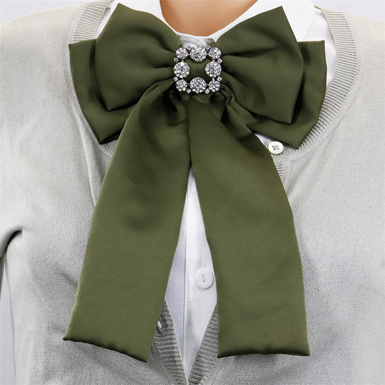 CLARMER Fashion Crystal Ribbon Brooch Women Bow Tie Colorful Lolita Pendant Bow Tie Clothing Corsage Brooches
