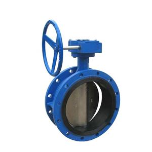 Resilient Seat double flanged,Double Eccentric Butterfly Valve with gearbox and handwheel,BS EN593electric actuator