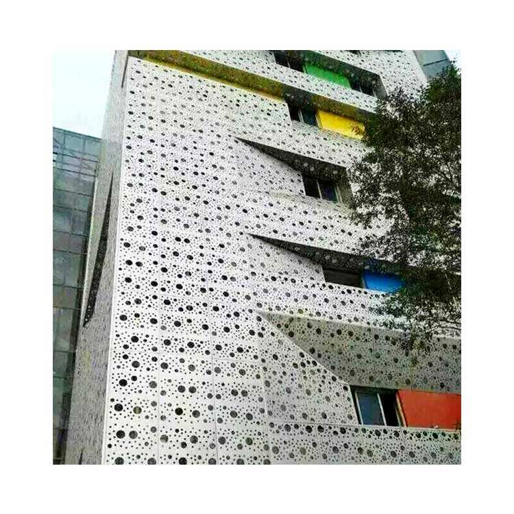 Custom Decorative Perforated Screen Laser Cut Metal Facade Curtain Wall Cladding