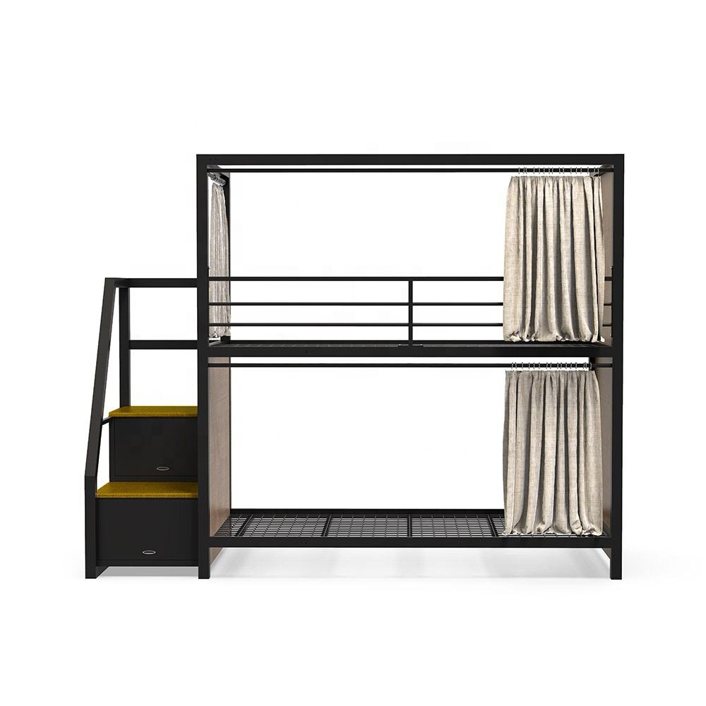 Steel queen size dormitory double Capsule loft bunk bed frame room furniture with plug and curtain bedroom for adult