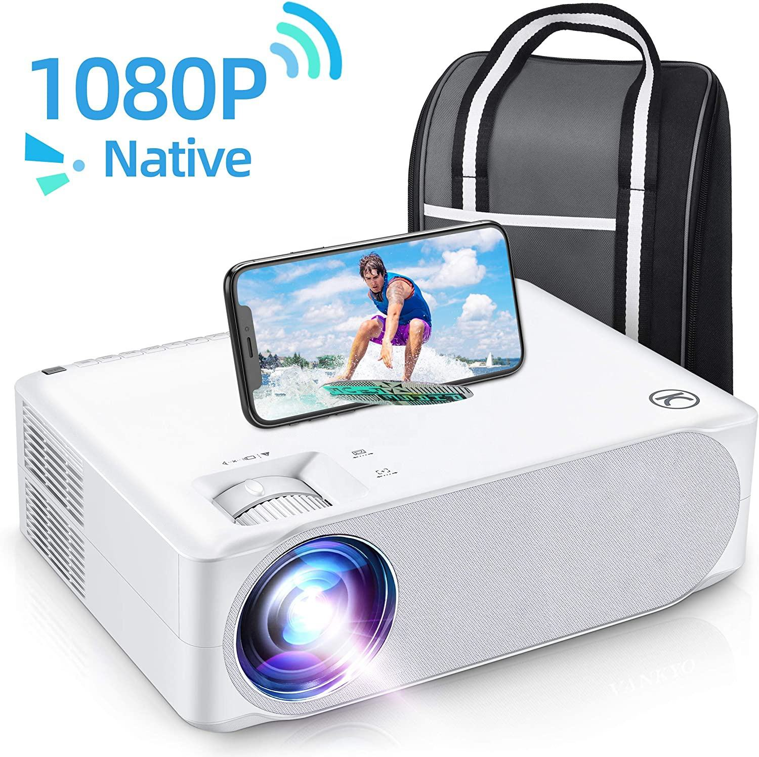 Proyektor Video Film Proyektor, Proyektor 1080P Full HD LCD LED Tinggi 6000 Lumens Home Theater Projector