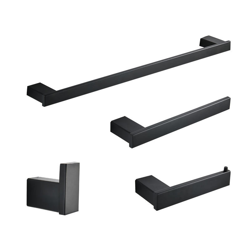 Modern Bathroom Square black Stainless steel Accessory Set