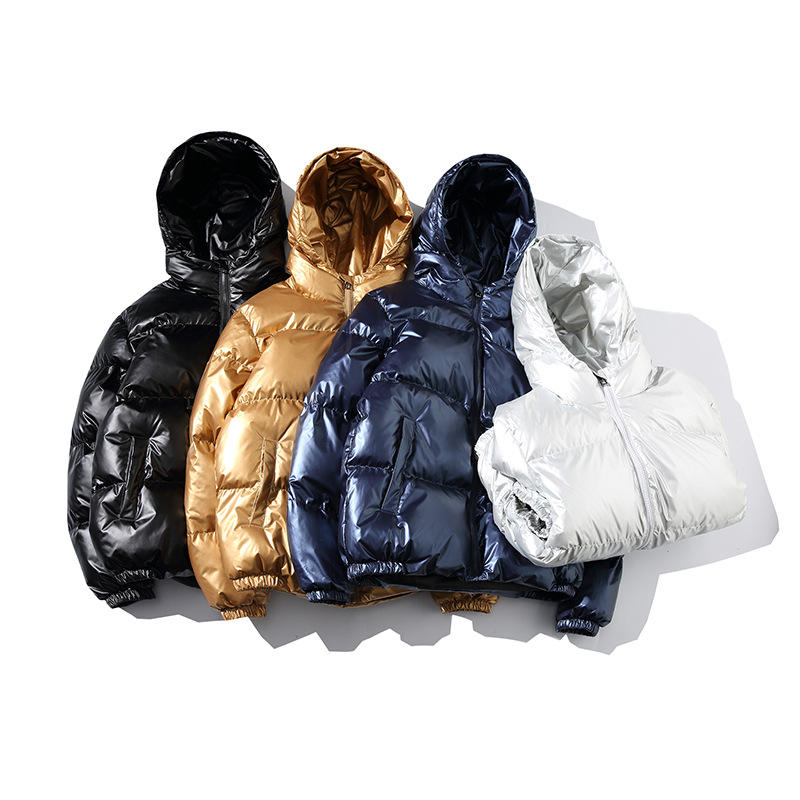 Winter Fashion Street Loose Hoodie Oversize Hooded Shiny Metal Color Padded Cotton Wadded Men Puffer Puffy Bomber Crop Jacket