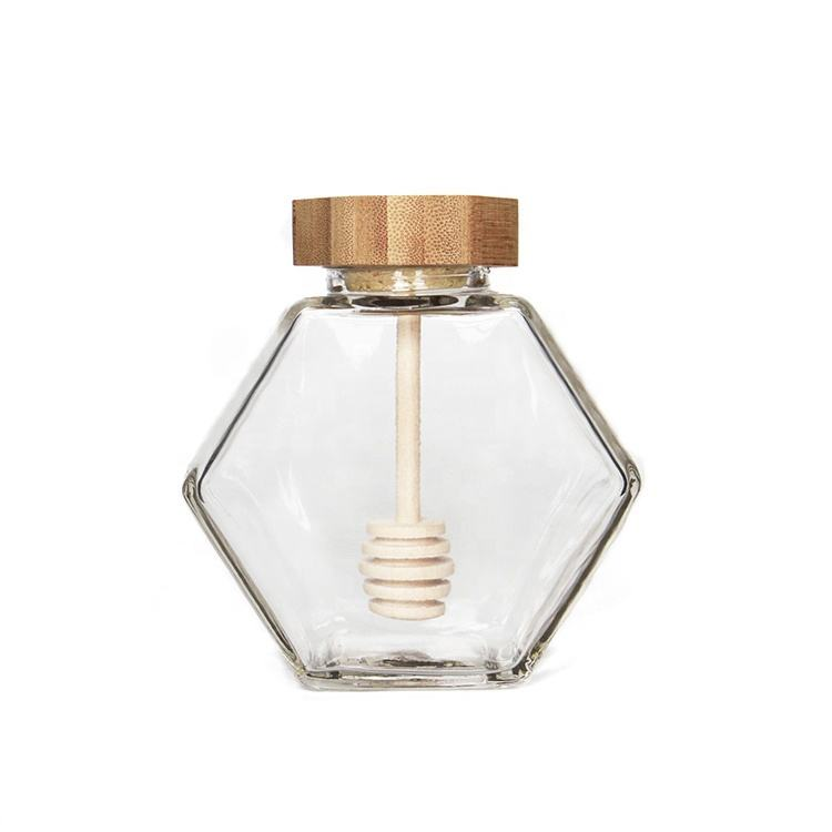 High quality luxury hexagon empty glass honey jar with dipper