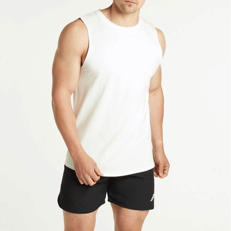 Zomer Hot Selling Ademende O-hals Wit Mannen Tank Tops Gym T-shirt Vest