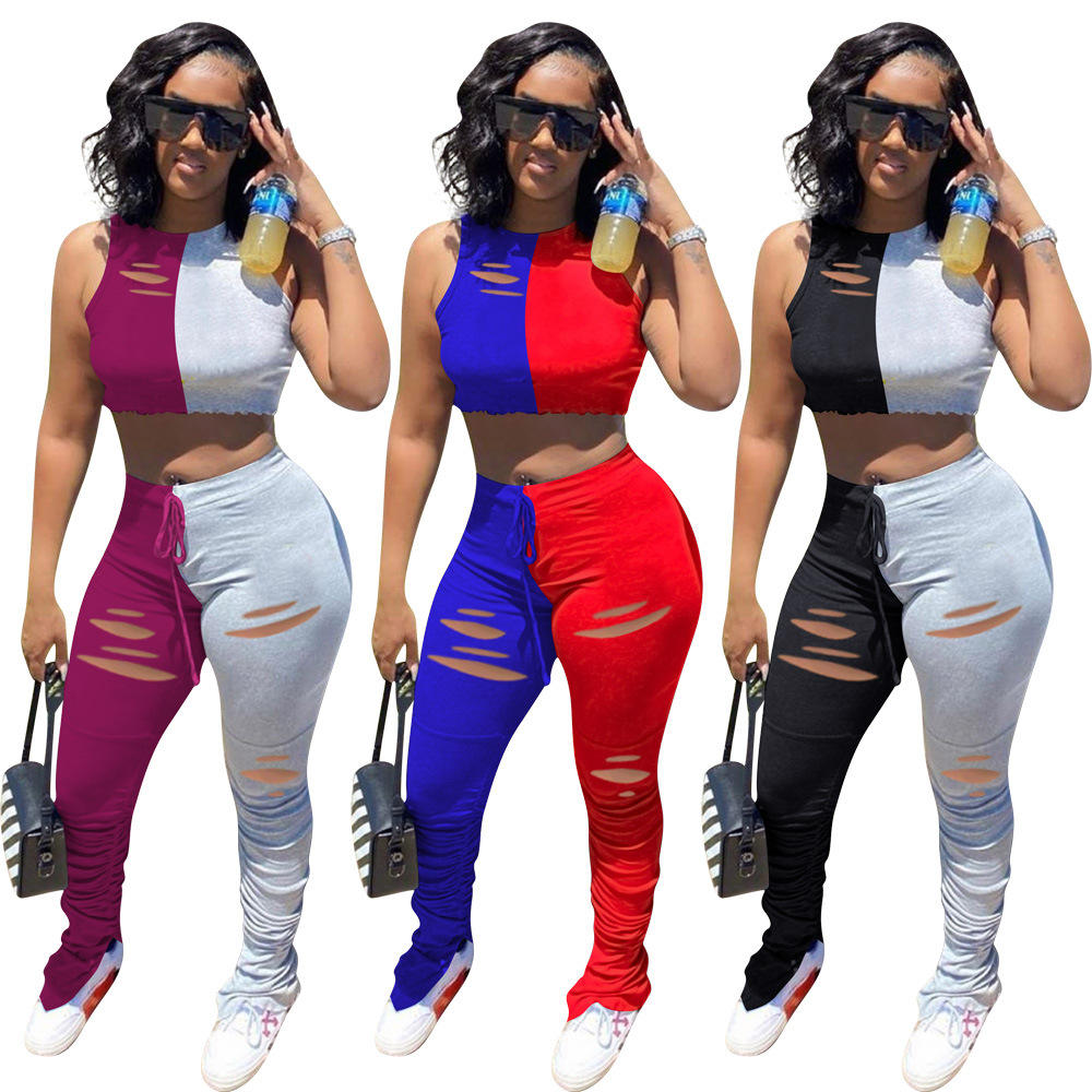 Women Fall Two Pieces Tank Top Sexy Two Piece Sets Stacked Leggings Double Color Outfits