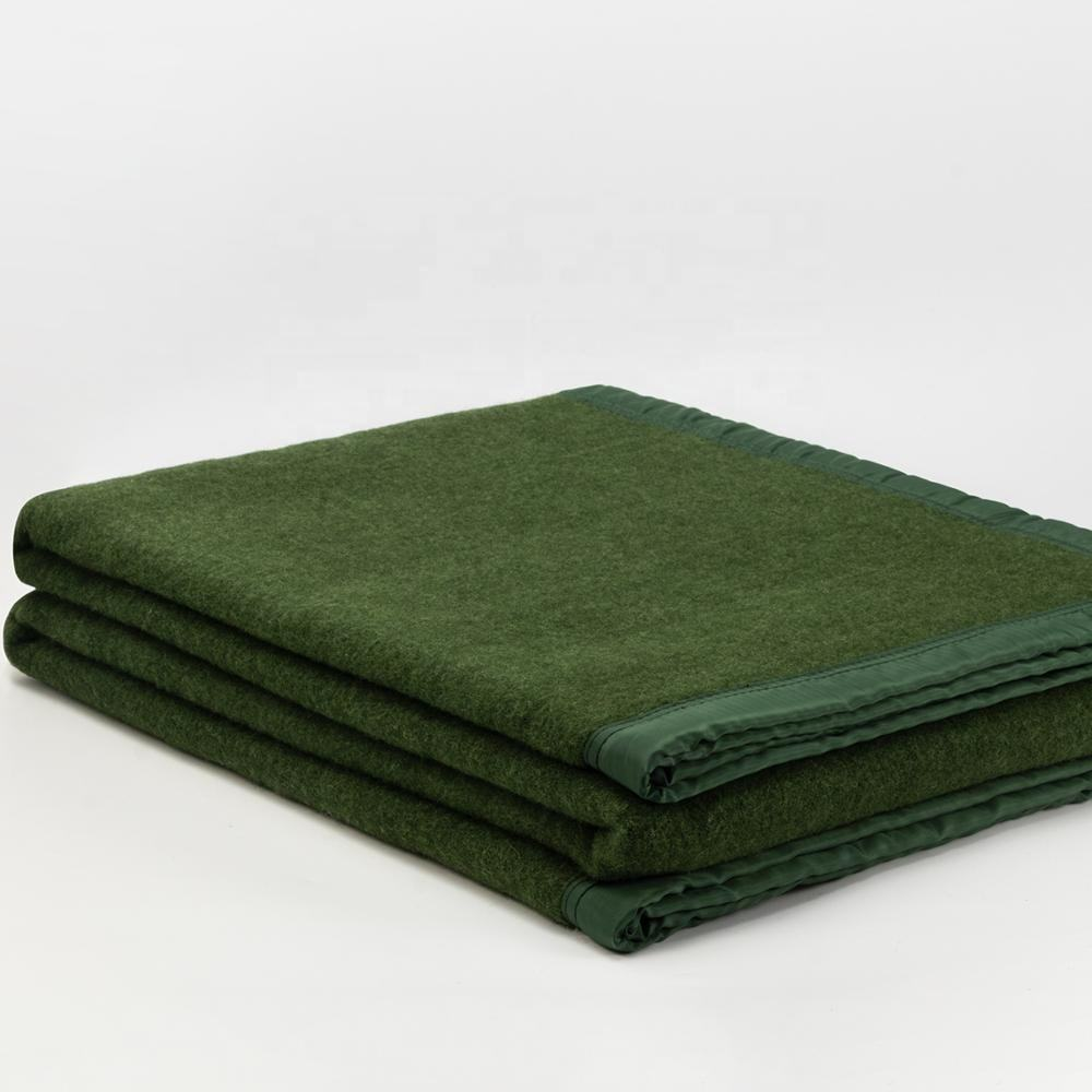 Military green wool blanket China aid wool polyester army blanket thick warm soft navy wholesale blanket