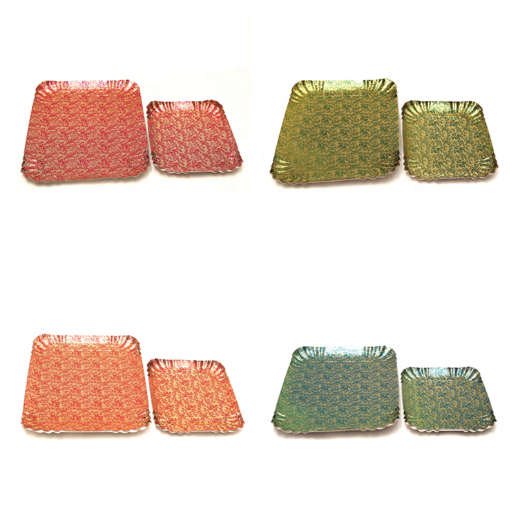 Wholesale Gold Silver Paper Tray Rectangle Shaped Paper Plate Bakery Disposable Food Tray Cardboard Multi-colors JL0054