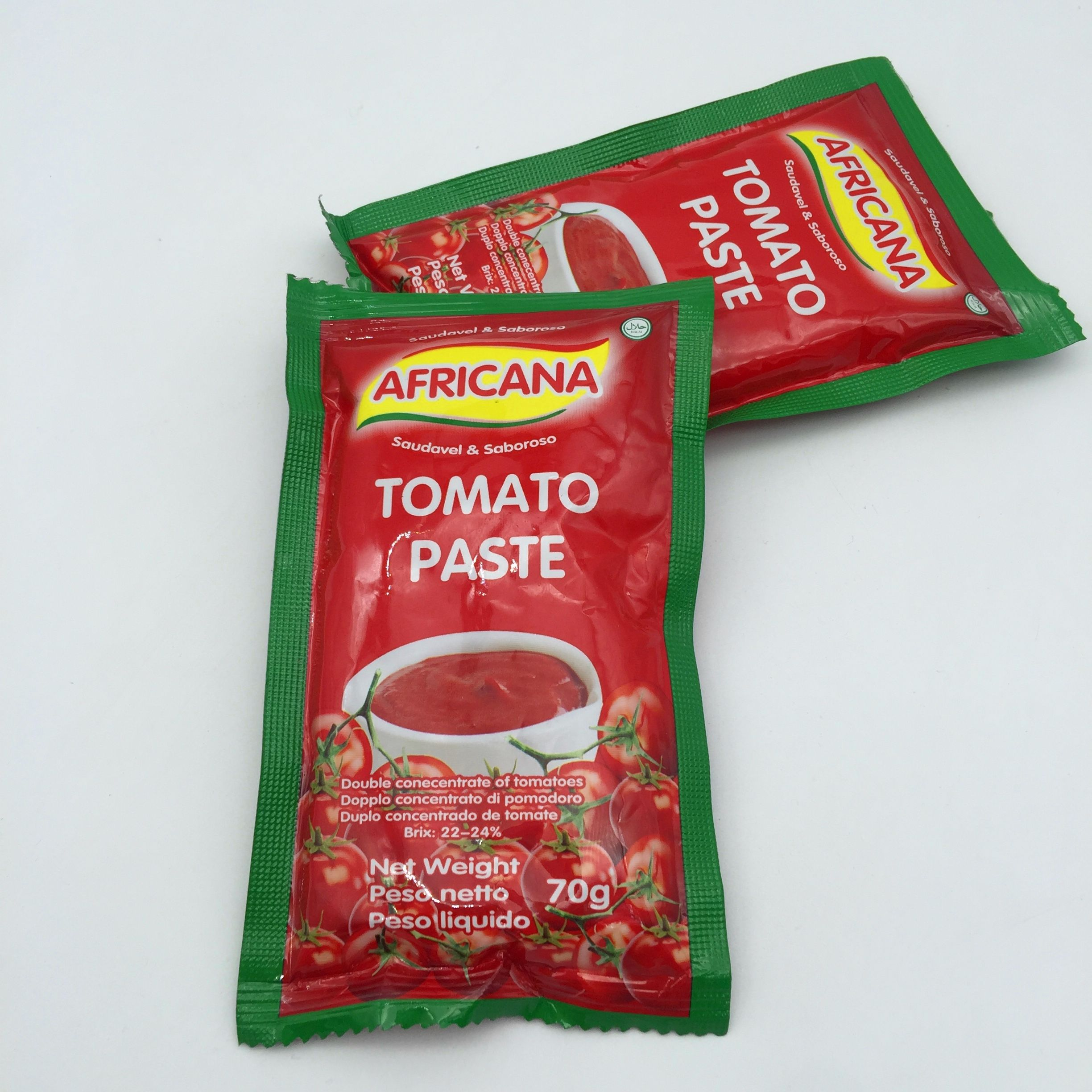 28% to 30% brix china factory Tomato Paste 50g 70g sachet package pouch tomato ketchup paste sauce