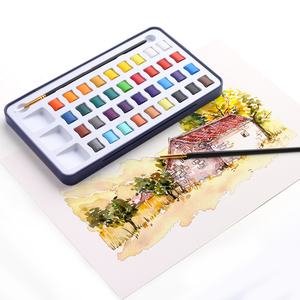 12/18/24/36 Best Selling Products Kids Pocket Neon Solid Cake Half Pan Metallic Artist Watercolor Paint Set with Brush