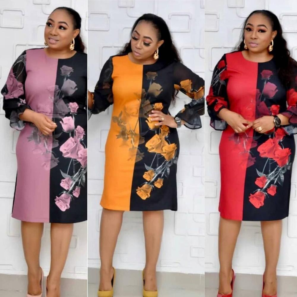Wholesale African Dresses For Women Plus Size Elegant Midi Dress L-3XL