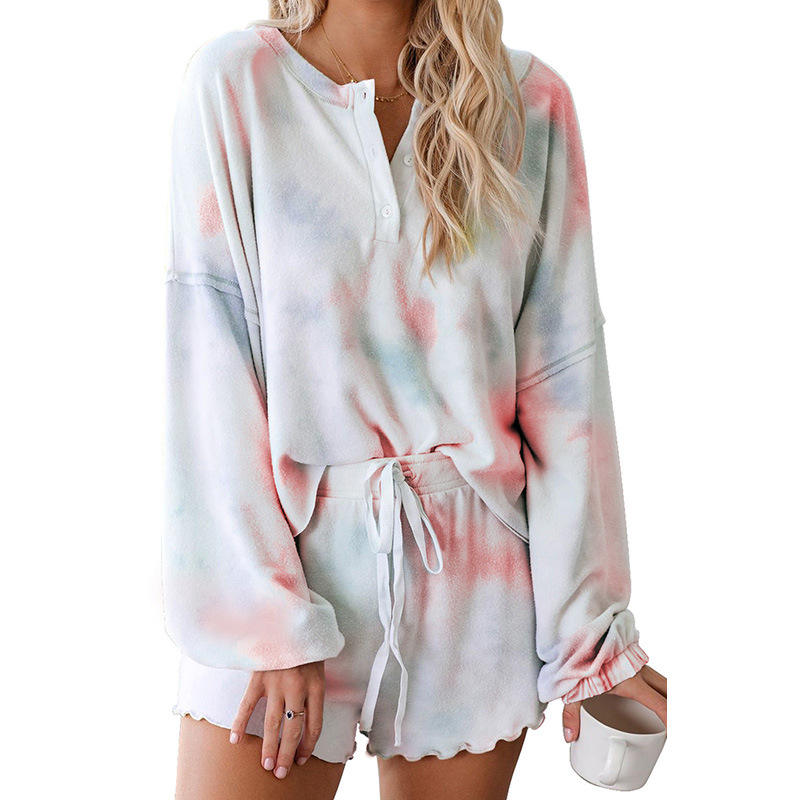 2020 Tie Dye Printed Ruffle Short Lounge Set Long Sleeve Tops and Shorts 2 Piece Pajamas Set Sleepwear for Women