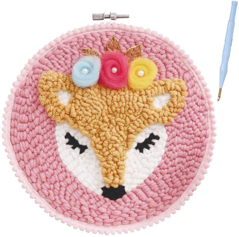 Fox Latch Hook Rug Kits DIY Tools Crocheting Rug Embroidery Needlework Unfinished Rug Shaggy Decoration and Family Activity