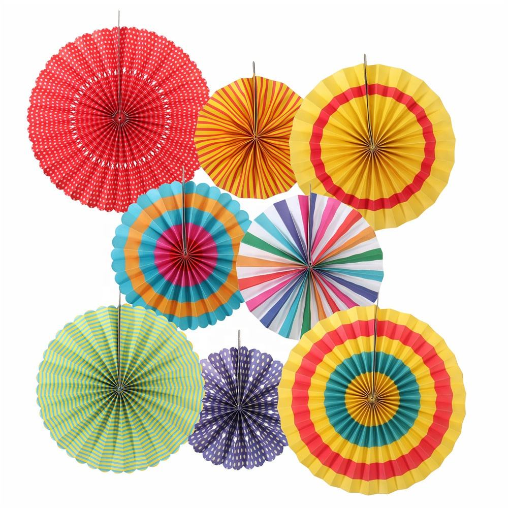 Custom Chinese Fiesta Party Ideas Mexican Colorful Fan Backdrop Flower Decoration Set Hanging Paper Fans 80403