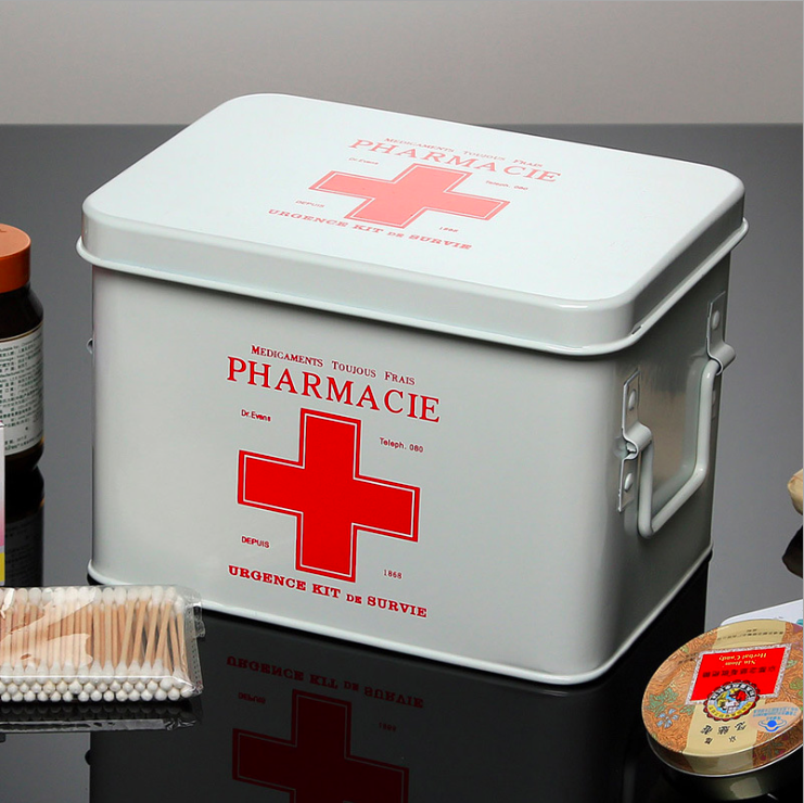 Household metal products home living room iron medicine cabinet storage custom logo first aid kit oem odm pill box