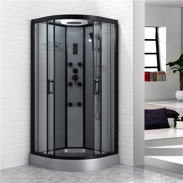 Bathroom design luxury black matt framed tempered glass shower room price with control panel