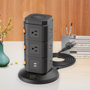Wireless charging usa plug vertical grounded ac outlets multi socket us surge protector power strip tower 4 ports usb powerstrip