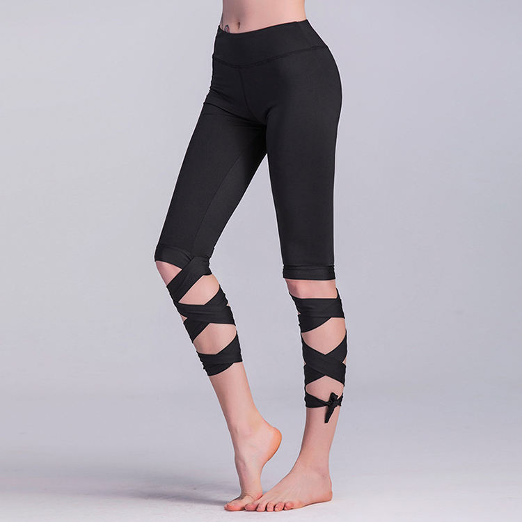 Yoga Fitness Capri Crop Bandage Leggings Private design cropped legging pants Cheap plain lace-up ballet legging