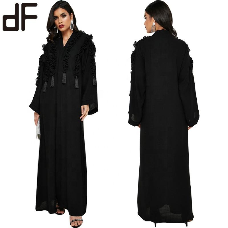 OEM Custom Abaya Manufacturer New Latest Design Dubai Abaya Kaftan Stylish Royal WomenのCool Maxi Dress Black Nida Arabic Abaya