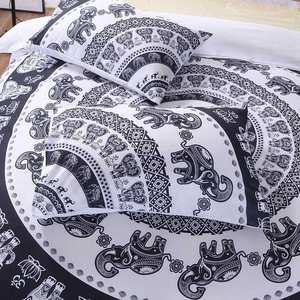 Luxury Soft Black And White 3d Printed Boho Bedding Set For Home Choice
