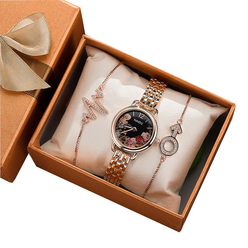 New bracelet, wristwatch,, 3 pieces et, gold flower, retro small and watch, with gift box