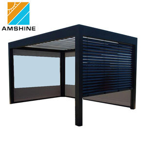 Waterdichte Moderne Schuur Cover Outdoor Metalen Aluminium Pergola Met Side Gordijn