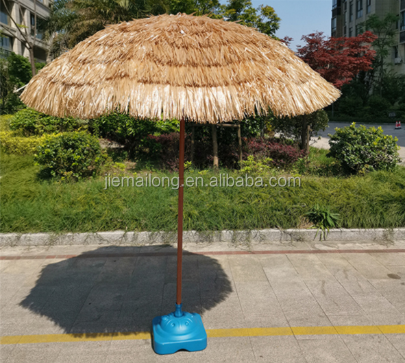 8 Feet Beach Umbrella Tiki Thatched Hula Umbrella Straw Parasol Crank Open System Umbrella in Natural Retro Style