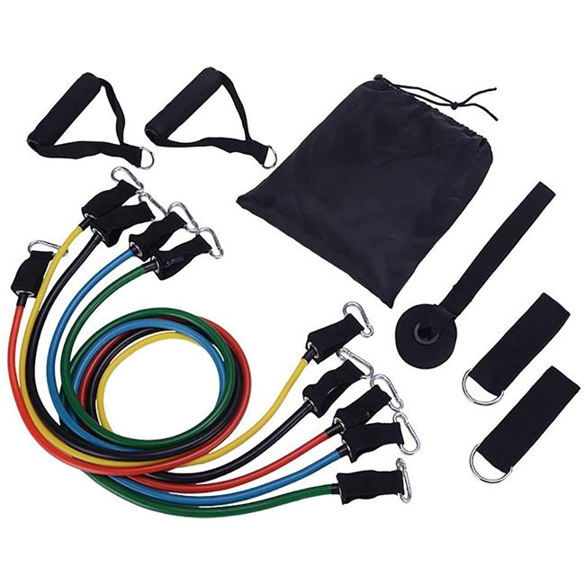 11Pcs Exercise Elastic Latex Resistance Bands Set include 5 Bands Handles Carry Bag Legs Ankle Straps Door Anchor Attachment