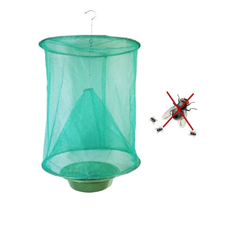 Top green portable hanging folding reusable mosquito insect fly trap cage net killer fly catcher
