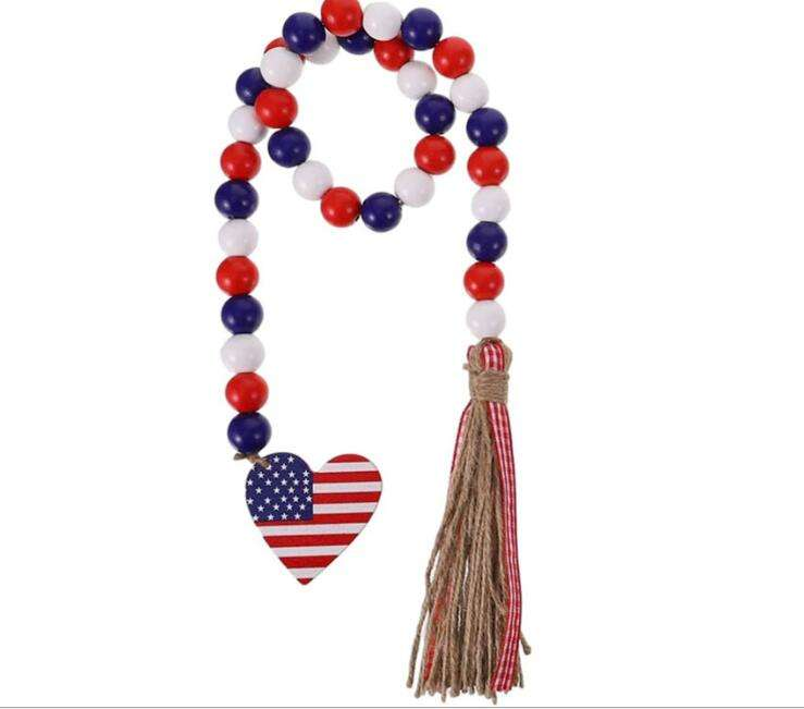 Nordic style home Holiday Decorations Creative hemp rope tassel beads Decor Pendant Independence Day Colours Wood bead