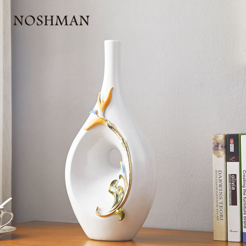 NOSHMAN Modern European Style Flower Vases For Homes Living Room Home Decoration Accessories Ornaments Nordic Ceramic Vase