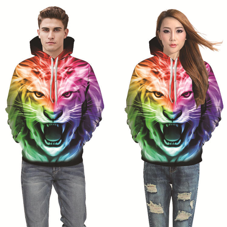 Factory direct autumn and winter new printing couple hooded sweater long-sleeved hooded casual shirt DW-210 henley hoodies