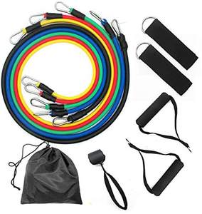 Wholesale cheap latex workout exercise stretch set fitness tube11pcs resistance bands