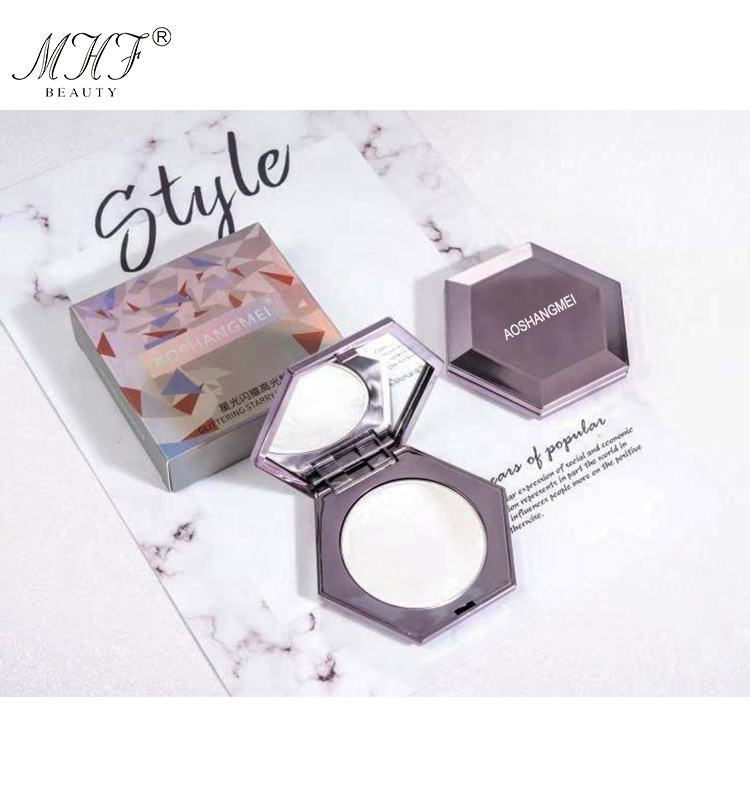 High quality make your own brand shiny hexagon face compact powder