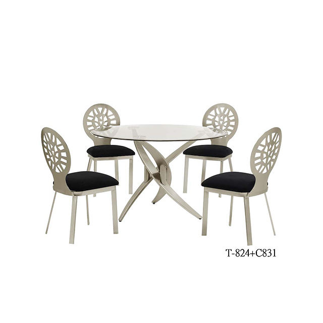 Modern Minimalist Unique Designs Kitchen Furniture Transparent Glass Top Silver Metal Iron Base Round Dining Table With Chairs